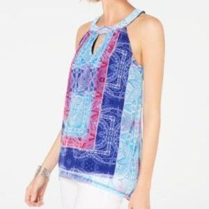INC Ombre Bloom chiffon halter Paisley Frenzy M